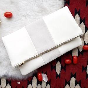 Handbags - Suede Ivory & Grey Foldover Clutch, NEW!